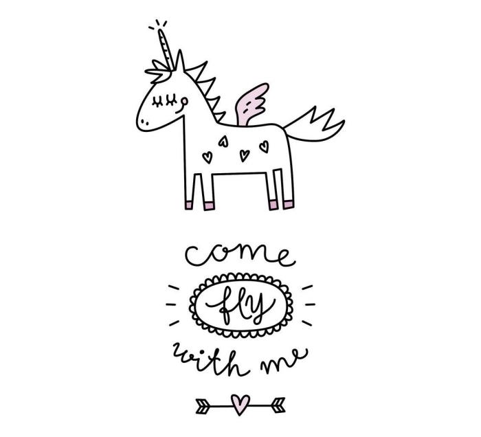 petit dessin de licorne mignonne avec corne torsadée et des ailes, message inspirant avec lettrage manuscrite et une petite flèche d'amour