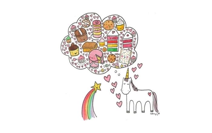 dessin kawaii licorne rêveuse avec une bulle de pensée pleine de gâteaux gourmands et de petits coeurs rose
