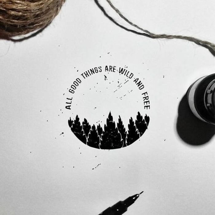 Comment dessiner des paysages simples, apprendre à dessiner comme pour la création d'un tatouage simple, belle photo de tatouage dessin