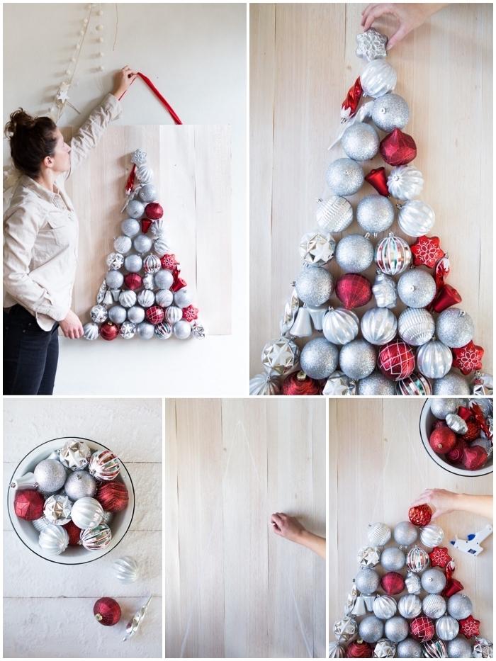 tuto facile pour réaliser un tableau mural en bois à suspendre au mur avec un motif sapin en boules de noël traditionnelles
