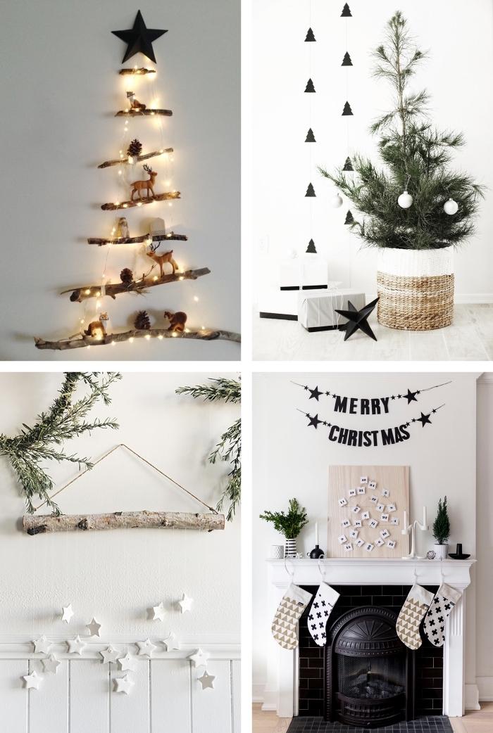 decoration de noel fait mais de style scandinave en bois, blanc et noir, sapins de noël minimalistes et naturels posés au mur ou dans un panier