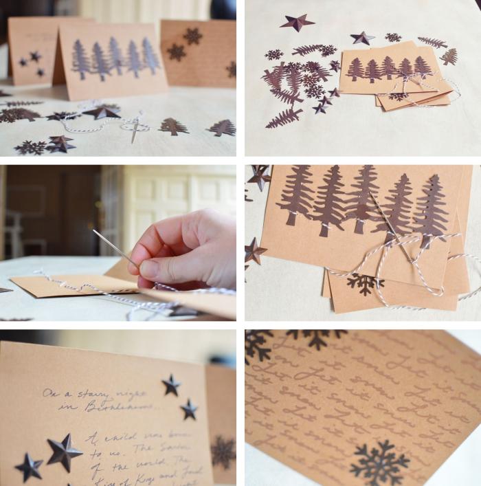 tutoriel pour décorer une carte postale vierge sur le thème noel, technique décoration carte Noel avec fil et sapins en papier