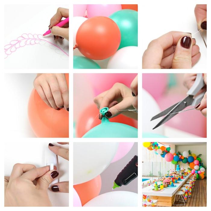 guirlande de ballons festive pour la table de fête, ficelle à ballons, grande table de fête décorée