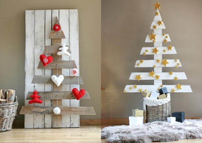sapins simples avec quelques planches clouées, palette blanche, plaid fourrure grise, étoiles couleur or, coeurs textiles en rouge et blanc
