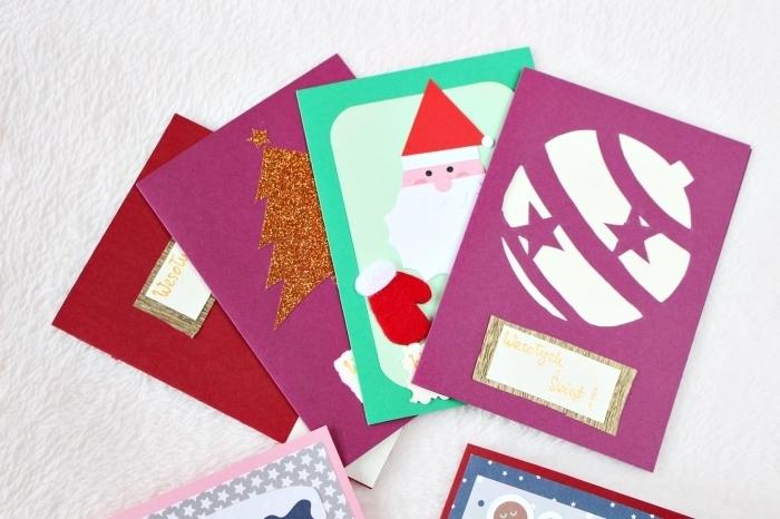 bricolage noel maternelle, modèles de carte Noel fait main en papier coloré, idée comment décorer une carte postale