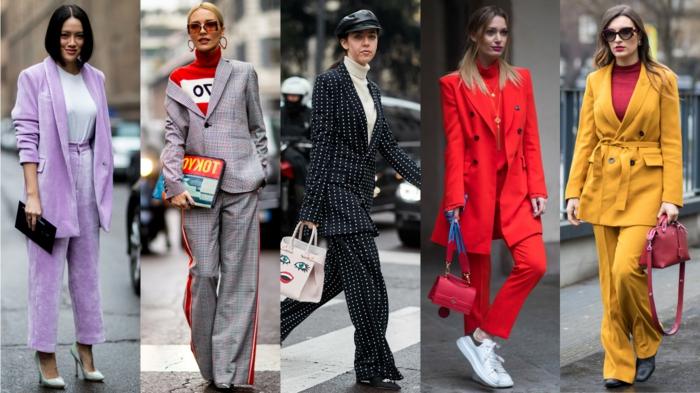 teue classe, tailleur femme chic, costume veste et pantalon lilas, tailleur style sport, tailleur jaune