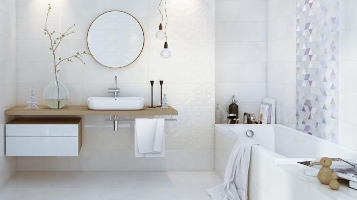 meuble salle de bain moderne, aménagement salle de bain avec baignoire, décoration murale avec carreaux graphiques