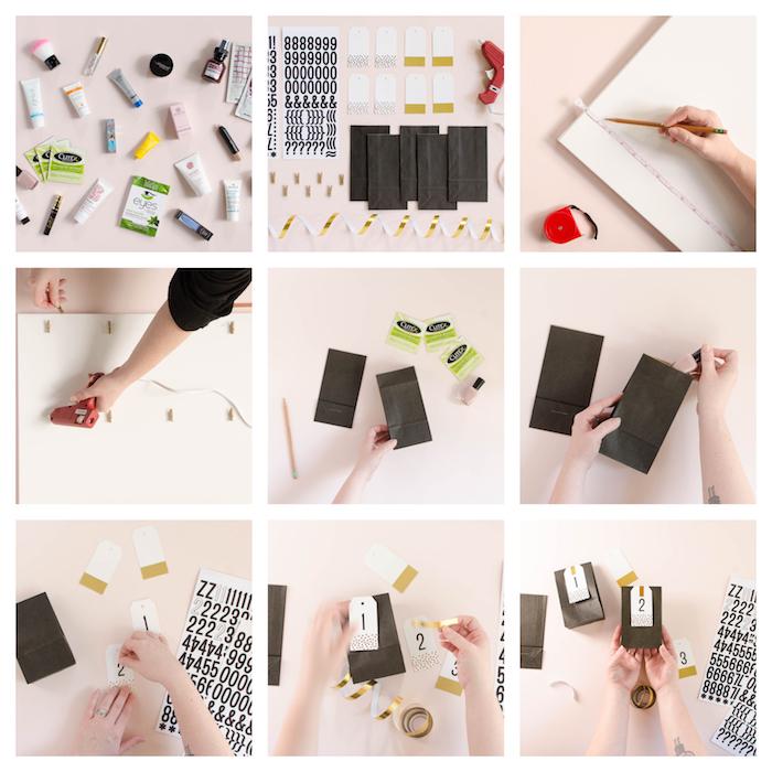 calendrier de l avent beauté fait main avec des sachets kraft noirs avec des étiquettes cadeau et des chiffres collées