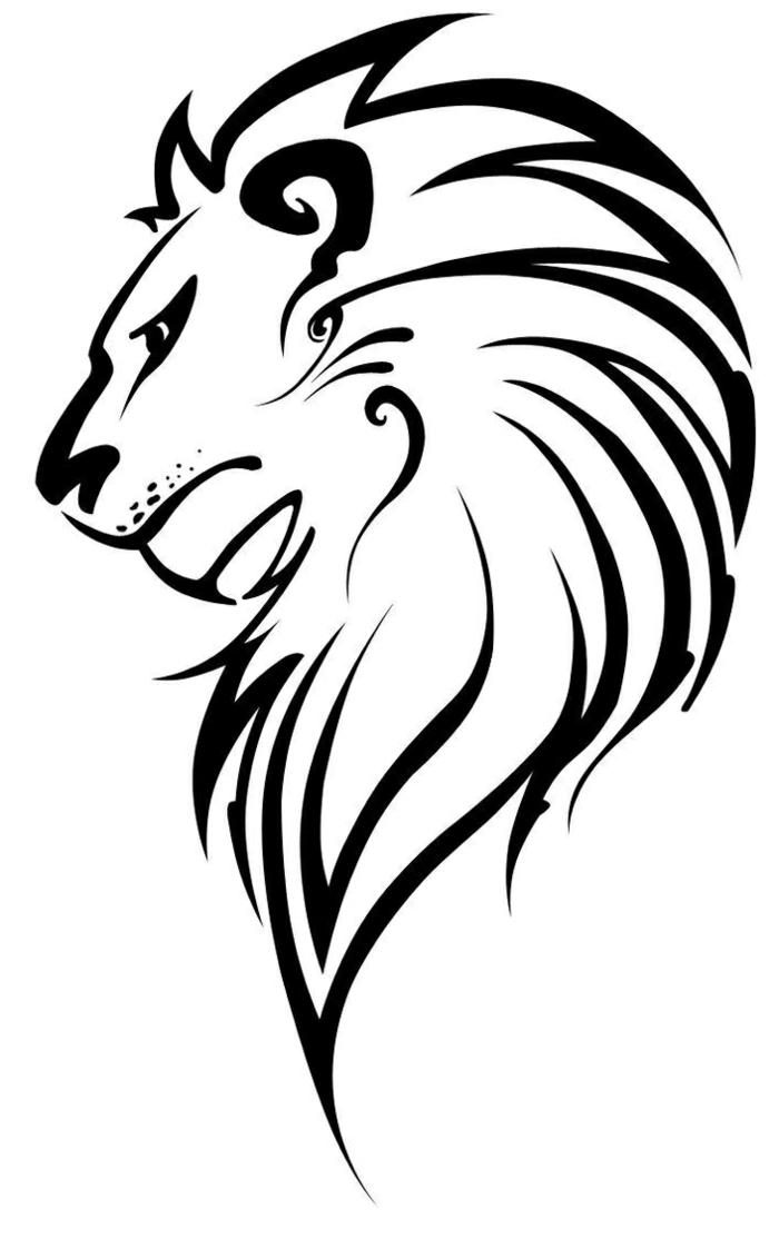 Comment dessiner un lion pour tatouage simple, idée stylisée de dessin animaux, dessin facile a reproduire par etape tutoriel