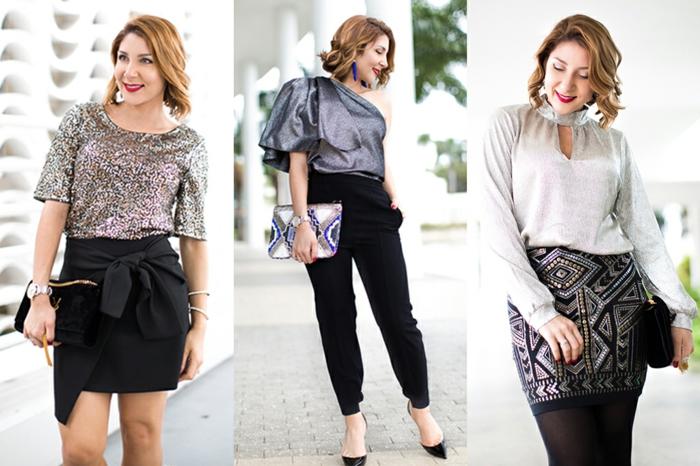 look femme chic, jupe mini noire, top pailleté, sac à main noir, pantalon noir, chemisier manche volumineuse, top satin gris