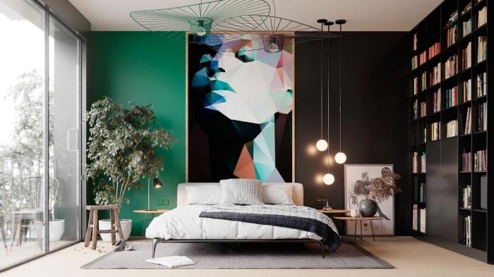 coloris vert végétal dans un intérieur moderne, peinture chambre adulte 2 couleurs avec mur vert et mur en gris anthracite