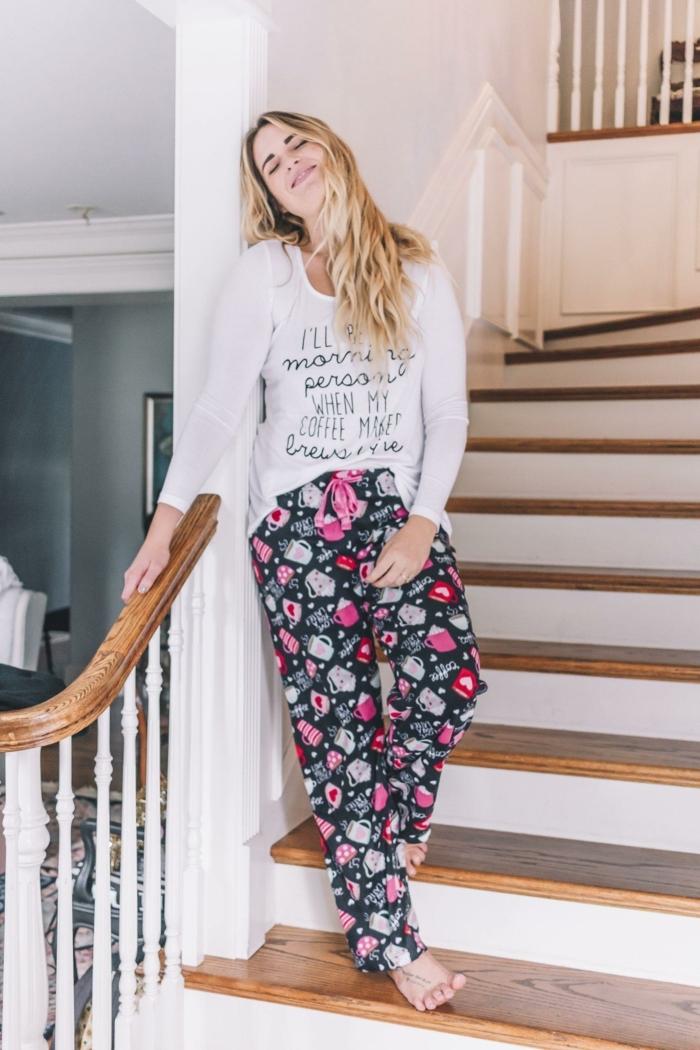 Tenue de noël pour femme, tenue noel décontracté cosy idée vetements, belle tenue femme, pyjama mignonne