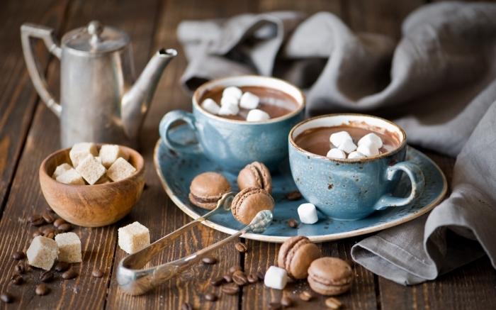 garnir un chocolat fondu au lait et guimauves, service de thé en bleu style vintage, recette chocolat chaud épais