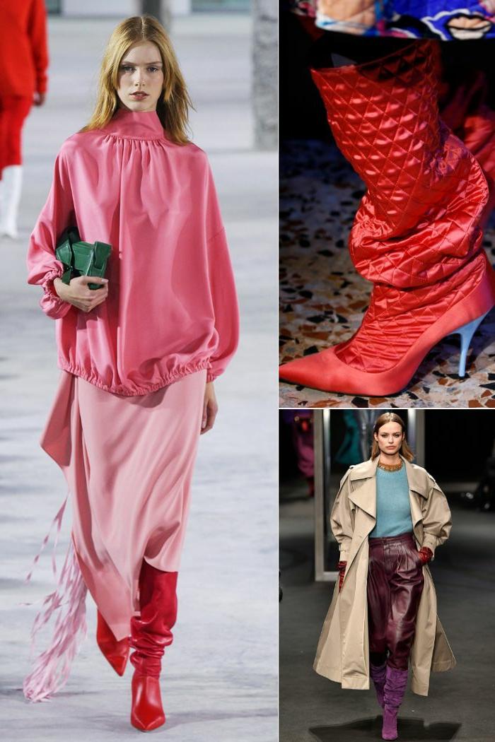 mannequin bottes rouges, jupe coupe fluide, petit sac vert, bottes à talons hauts, pantalon simili cuir femme