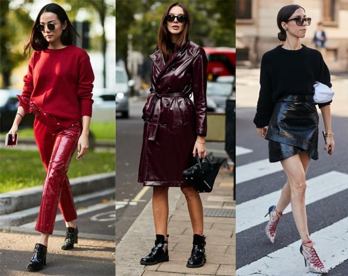 pantalon simili cuir femme, veste simili cuir burgundy, pull femme rouge, chaussures de sport et sneakers à lacets