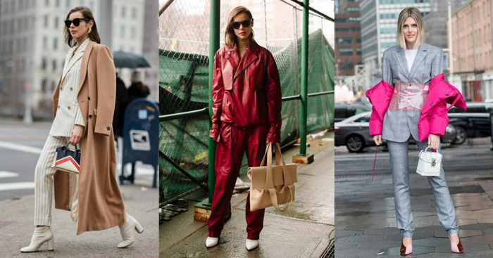 costume et pantalon simili cuir femme, tailleur femme chic gris clair, manteau camel long