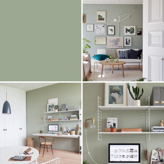 idée couleur mur salon tendance 2019, aménagement salon avec meubles en bois blanc et plancher en bois clair