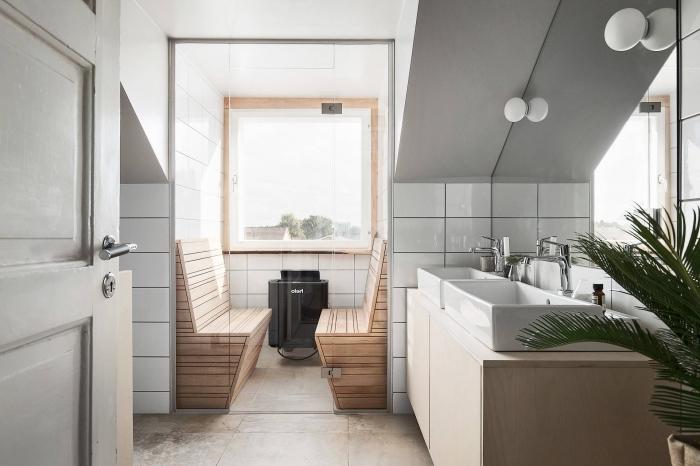 choix de meuble sous evier salle de bain contemporaine, coin spa et relax dans une salle de bain sous pente