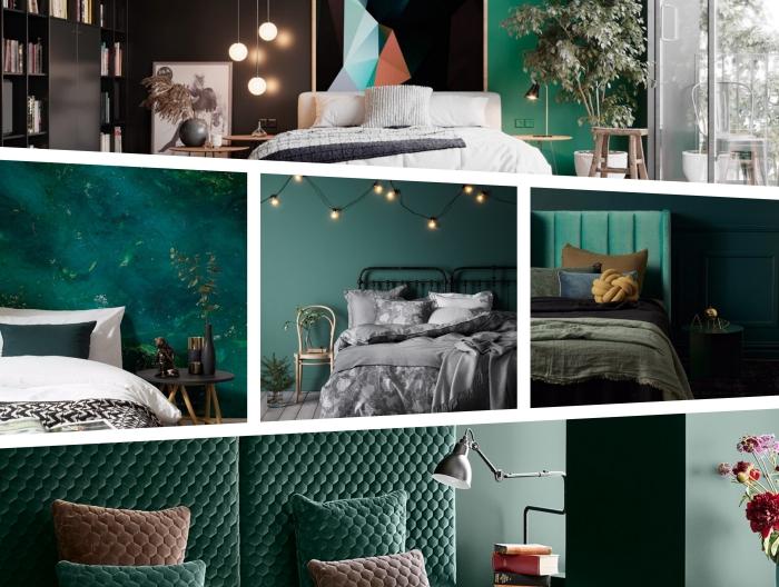 design intérieur moderne aux murs en nuances de vert, déco naturelle de chambre à coucher avec plantes vertes et murs verts