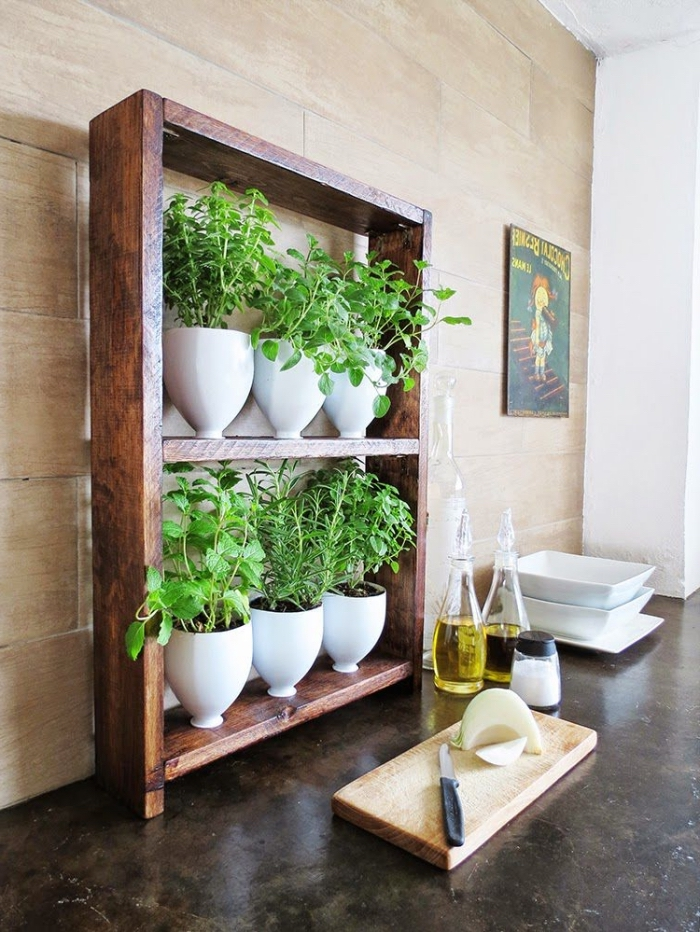aménager un mini-jardin d'herbes aromatiques dans la cuisine avec une jardinière récup à partir d'un cadre de bois récup et des bouteilles en plastique recyclées