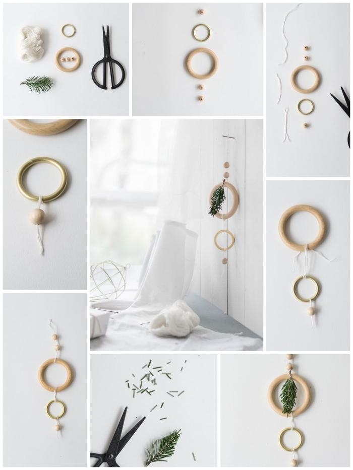 activité manuelle noel facile et rapide pour réaliser une suspension de noël minimaliste en anneaux de bois et quelques brins de sapin