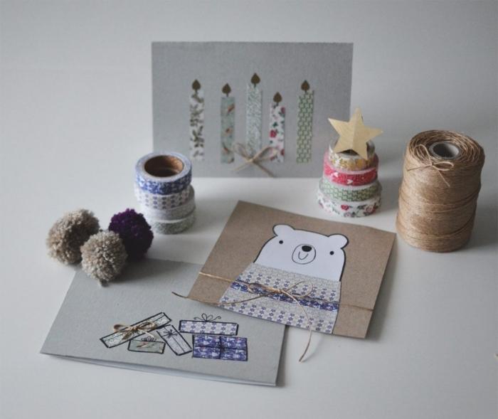 bricolage de noel, comment faire une carte de voeux soi même, carte DIY en papier kraft brun avec dessin ours