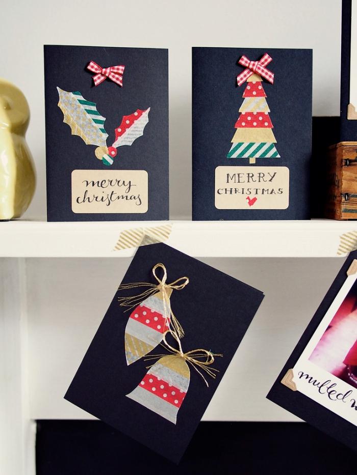carte de noel a faire soi meme facile, idée carte postale diy en papier coloré, décoration carte Noël fait main avec washi tape