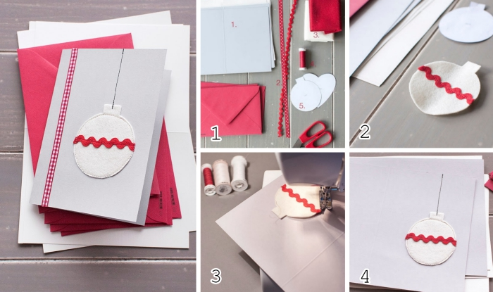 comment décorer une carte postale vierge sur le thème Noel, faire un ornement de Noel en papier scrapbooking et washi tape