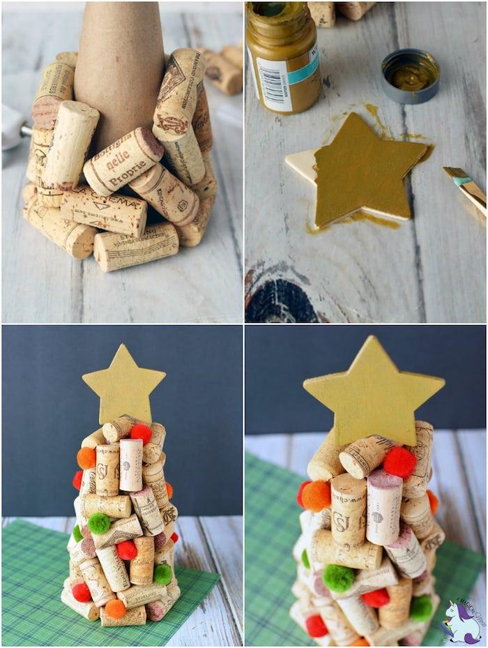 deco de noel a faire soi meme avec recup, recyclage bouchons de liège pour fabriquer un sapin de noel original, étoile en papier