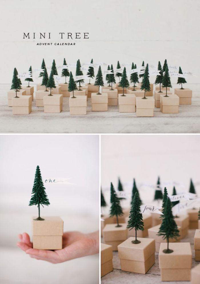 boîtes de carton papier kraft avec des figurines de sapin de noel et des étiquettes chiffres écrits en lettres, calendrier de l avent cadeau