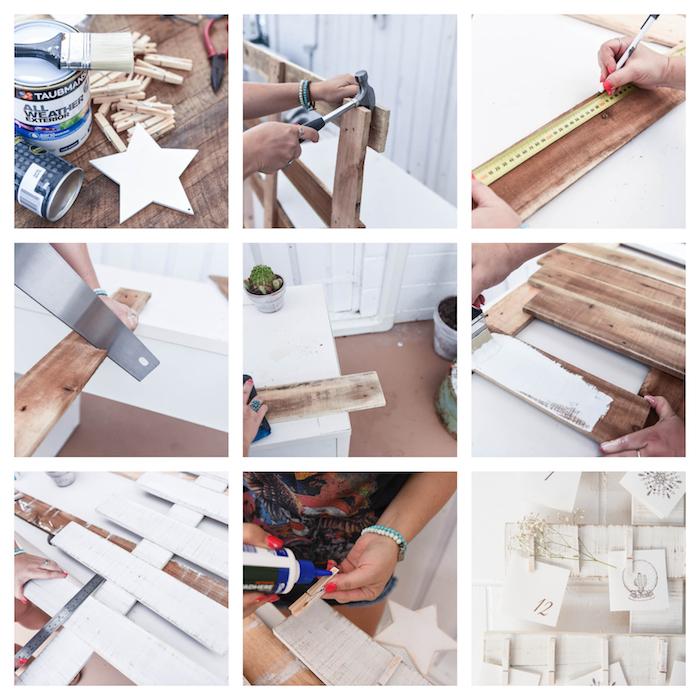 bricolage calendrier de l avent original en bois de palette repeinte de couleur blanche avec des étiquettes accrochées à des pinces à linge, calendrier de l avent style scandinave