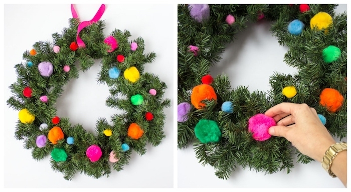 faire sa couronne de noel soi meme en branches de pin anturelles et pompons colorés, idee deco noel fait maison