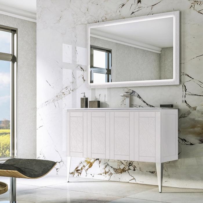 meuble sous evier salle de bain blanc, modèle revêtement mural à design marbre luxueux, déco salle de bain élégante en blanc