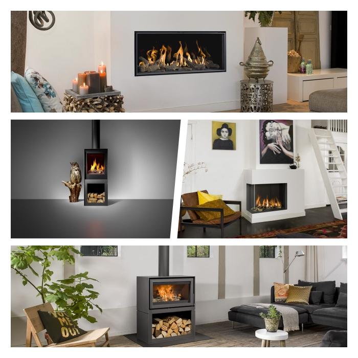 choisir une poele cheminee barbas bellfires, exemples d appareil chauffage à bois et à gaz pour un salon cosy pour l hiver