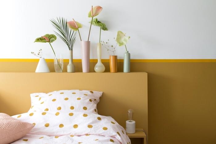 exemple de peinture chambre adulte 2 couleurs, quelles couleurs associer dans une chambre tendance jaune et blanc