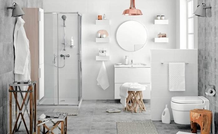 exemple de carrelage salle de bain en gris clair, quelles couleurs combiner dans une salle de bain contemporaine