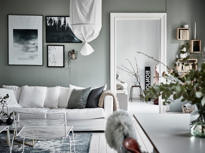 exemple de peinture grise aux reflets verts pour déco de salon cozy, aménagement salon avec meubles blancs