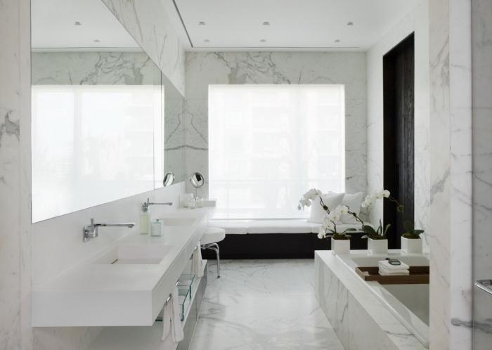 design intérieur stylé et luxueux dans une salle de bain aux murs à design marbre avec large miroir et double vasque