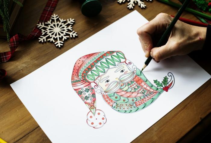Dessin facile a reproduire, tete de pere noel, coloré dessins mignons, comment dessiner la tete du pere noel original