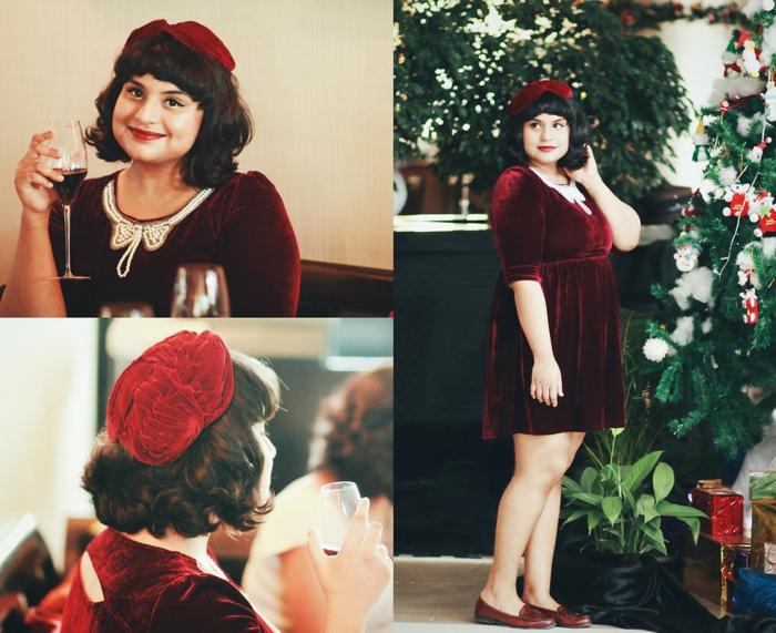 Tenue de fête femme, tenue de noël pour femme style décontracté chic, femme tenue robe en velours et sapin de noel