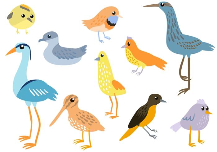 Dessins facile à faire, apprendre à dessiner, simples lignes pour apprendre comment le faire, les différents oiseaux