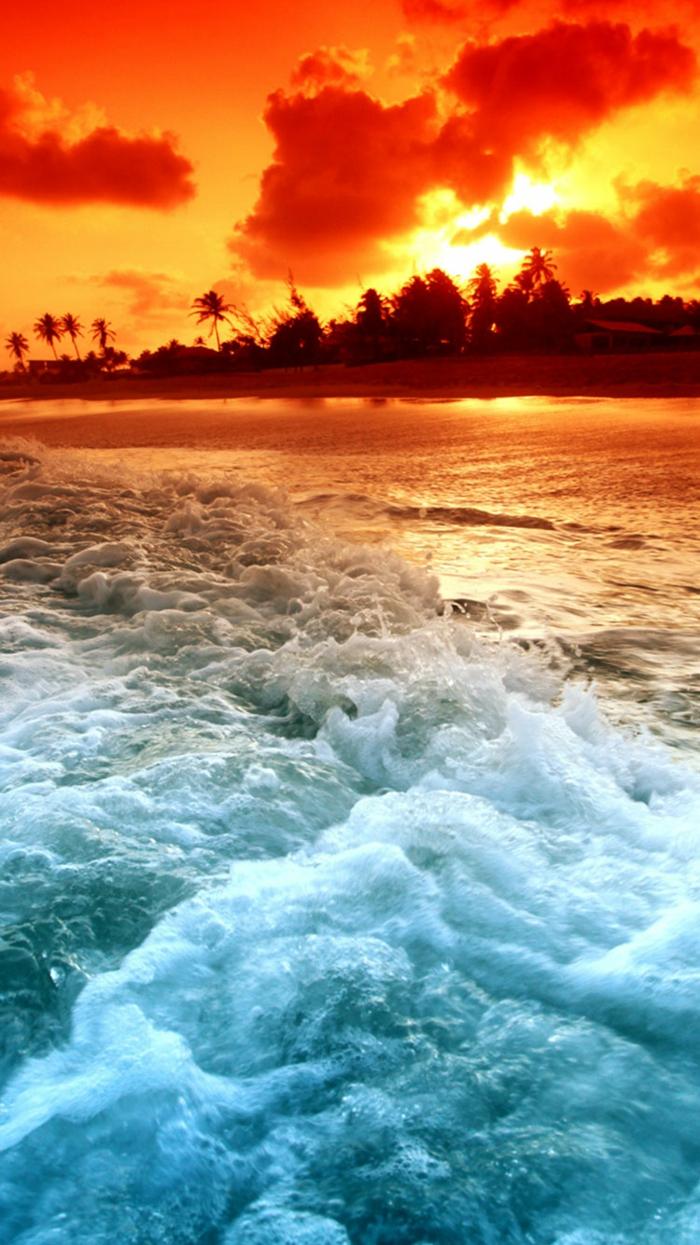 Fond ecran ordinateur, fond d écran stylé beau arrière plan bureau inspiration coucher de soleil a la plage