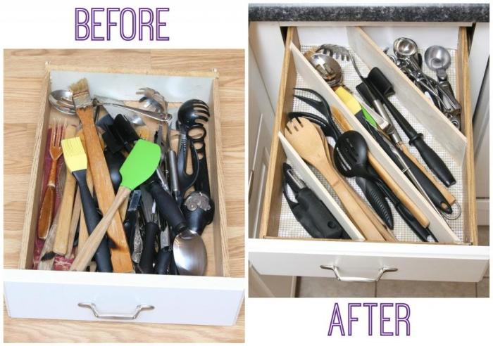 organisateur placard cuisine à compartiments à faire soi-même pour ranger ses ustensiles de cuisine et mettre de l'ordre dans ses tiroirs de cuisine