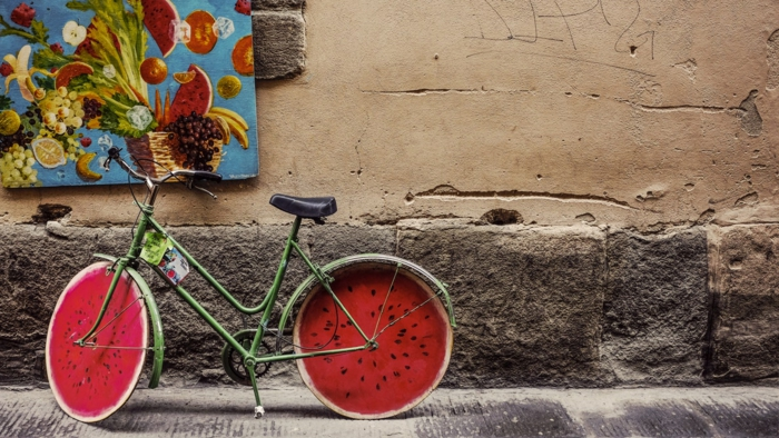 Fond d écran rigolo, fond d écran ado arrière plans inspirés par tumblr beauté bicyclette avec pneus dessinés comme pasteque