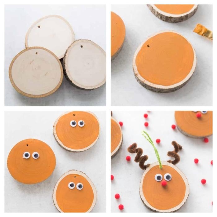décorations rustiques de noel fait main, rondins de bois décorés de peinture orange, des yeux mobiles et nez en mini pompon rouge, bois en cure pipe