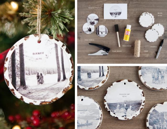 étapes à suivre pour transférer une photo sur bois, DIY ornement de Noel en bois et photo blanc et noir, idée cadeau femme noel fait main
