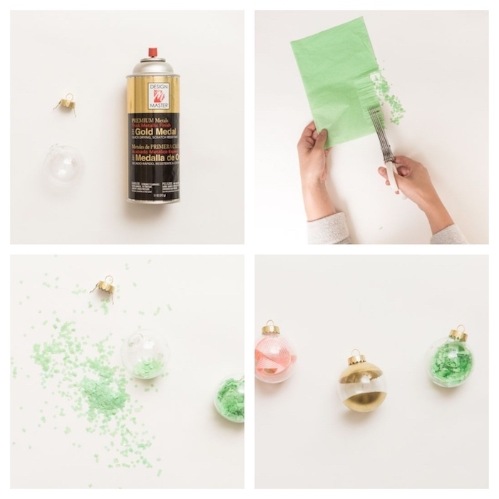 boules de neol remplies de confettis, ruban et repeintes de peinture, decoration de noel pour sapin de noel