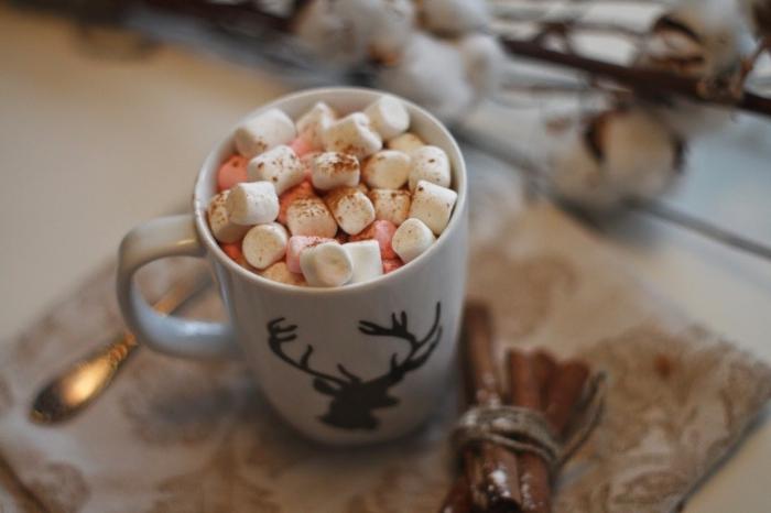faire un vrai chocolat chaud, mug café personnalisé pour Noël, idée comment garnir un chocolat chaud aux guimauves