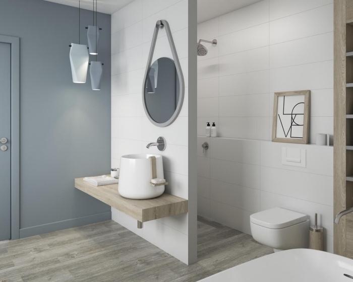 carrelage salle de bain blanc, peinture murale nuance de gris dans une salle de bain, idée intérieur moderne en blanc et bois
