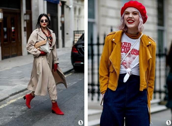 look femme hiver, bonnet rouge, veste moutarde, tee-shirt nouée à la taille, pantalon écru, manteau aux revers